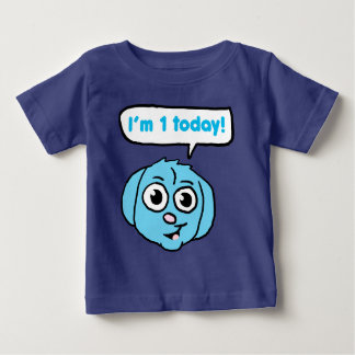I'm 1 today Blue Puppy Baby T-Shirt