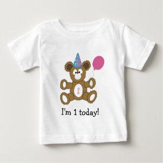 I'm 1 today! First Birthday Bear GIRL Baby T-Shirt