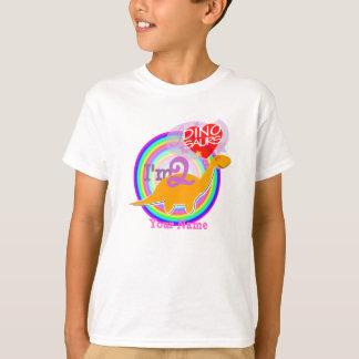 I'm 2 - 2nd Birthday Orange Dino Name T-Shirt