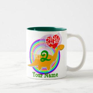 I'm 2 Birthday Celebration Dino Mug with Your Name