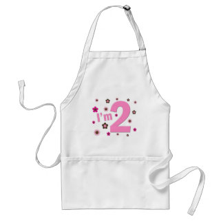 """""""I'm 2"""" Pink & Brown Flowers Adult Apron"""
