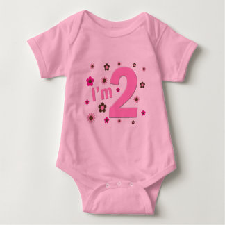 """I'm 2"" Pink & Brown Flowers Baby Bodysuit"