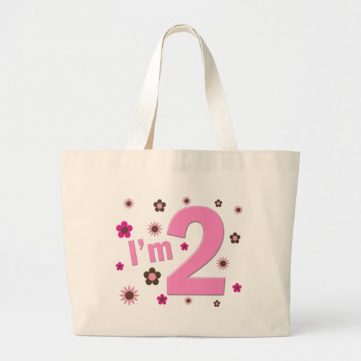 """I'm 2"" Pink & Brown Flowers Bags"