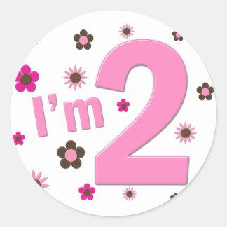 """I'm 2"" Pink & Brown Flowers Classic Round Sticker"