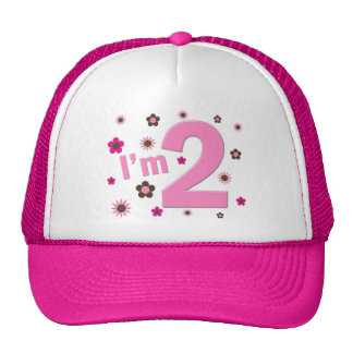 """I'm 2"" Pink & Brown Flowers Trucker Hat"