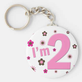 """""""I'm 2"""" Pink & Brown Flowers Key Chain"""