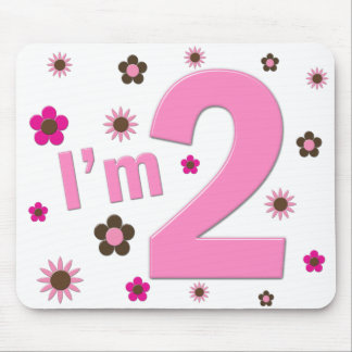 """""""I'm 2"""" Pink & Brown Flowers Mouse Pad"""