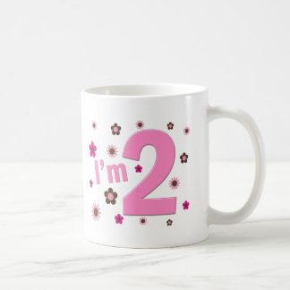 """I'm 2"" Pink & Brown Flowers Coffee Mug"