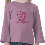 """I'm 2"" Pink & Brown Flowers Tee Shirts"