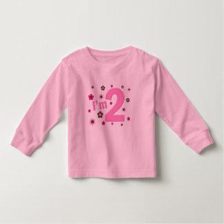 """I'm 2"" Pink & Brown Flowers Toddler T-shirt"