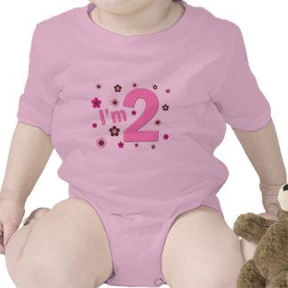 """I'm 2"" Pink & Brown Flowers Tshirt"