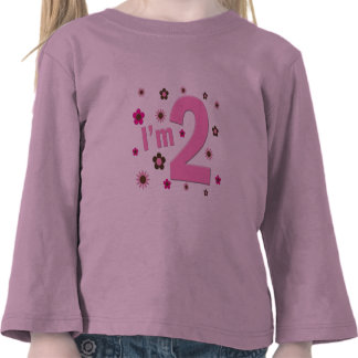 """""""I'm 2"""" Pink & Brown Flowers Tee Shirts"""