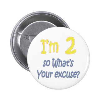 I'm 2 so what's your excuse? pinback buttons