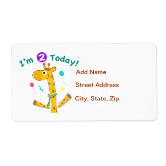 I'm 2 Today Toddler's 2nd Birthday Shipping Label