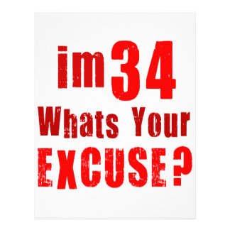 I'm 34, whats your excuse? Birthday Letterhead Template
