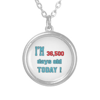 I'm 36500 days old today ! round pendant necklace
