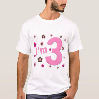 """I'm 3"" Pink & Brown Flowers T-Shirt"