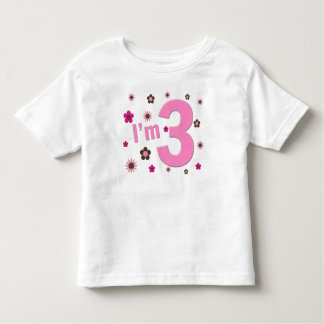 """""""I'm 3"""" Pink & Brown Flowers T-shirt"""