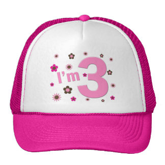 """I'm 3"" Pink & Brown Flowers Trucker Hat"