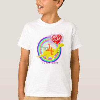 I'm 4 - 4 Years Birthday Party Yellow Dino T-shirt