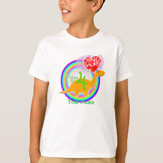 I'm 4 - 4th Birthday Party Orange Dino T-Shirt