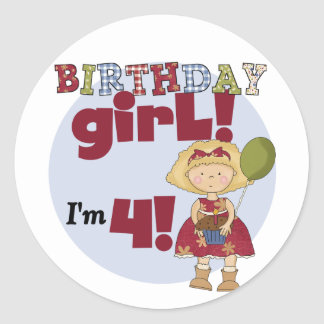 I'm 4 Birthday Girl T-shirts and Gifts Classic Round Sticker