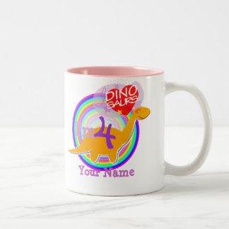I'm 4 Birthday Party Celebration Dino Name Mug
