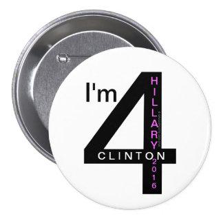 "I'm 4 Hillary Clinton 2016 3"" Pinback Buttons"
