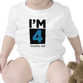 I'm 4 Months Old Blue Baby Bodysuit