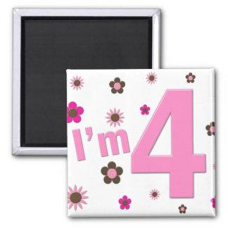 I'm 4 Pink & Brown Flowers Magnet