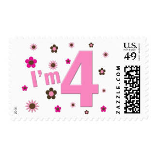 I'm 4 Pink & Brown Flowers Postage Stamps