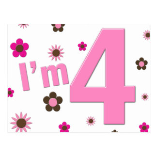 I'm 4 Pink & Brown Flowers Postcard