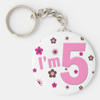 I'm 5 Pink And Brown Flowers Keychain