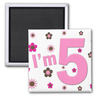 I'm 5 Pink And Brown Flowers Magnet