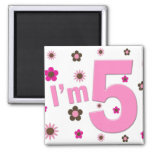 I'm 5 Pink And Brown Flowers Magnets