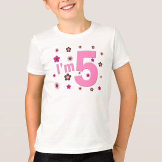 I'm 5 Pink And Brown Flowers T-Shirt