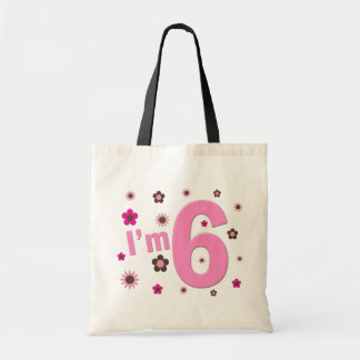 I'm 6 Pink And Brown Flowers Canvas Bags