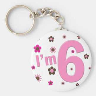 I'm 6 Pink And Brown Flowers Key Chains