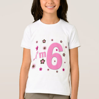 I'm 6 Pink And Brown Flowers T-Shirt