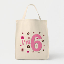 I'm 6 Pink And Brown Flowers Tote Bag