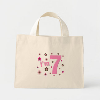 I'm 7 Pink And Brown Flowers Canvas Bags