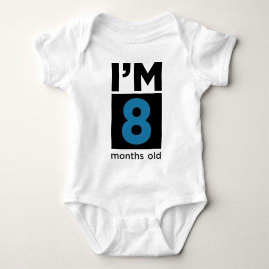 I'm 8 Months Old Blue Baby Bodysuit