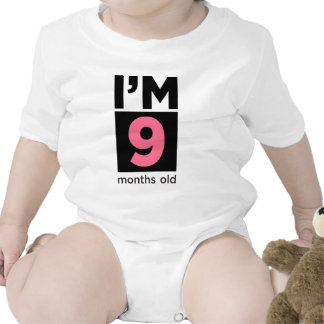 I'm 9 Months Old Pink Baby Bodysuits