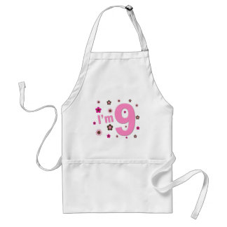 I'm 9 Pink And Brown Flowers Adult Apron