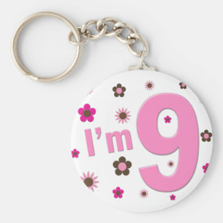 I'm 9 Pink And Brown Flowers Key Chains