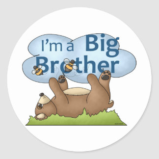 I'm a Big Brother bear Classic Round Sticker