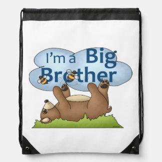 I'm a Big Brother bear Drawstring Backpack