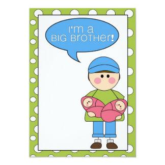 i'm a big brother (twin sisters) 5x7 paper invitation card