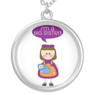 i'm a big sister (baby brother) round pendant necklace