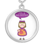 i'm a big sister (baby sister) round pendant necklace